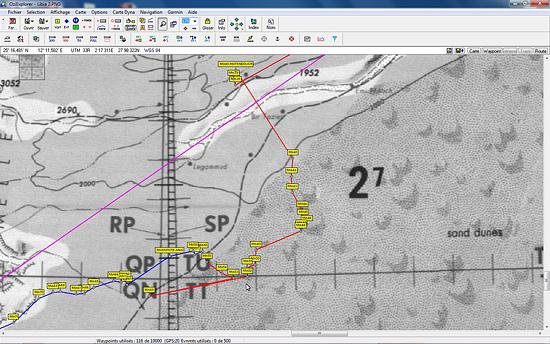 Waypoint et route dans l'erg de Murzuk sur fond de carte aéronautique