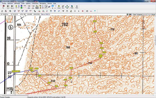 Waypoint et route dans l'erg de Murzuk sur carte topographique russe