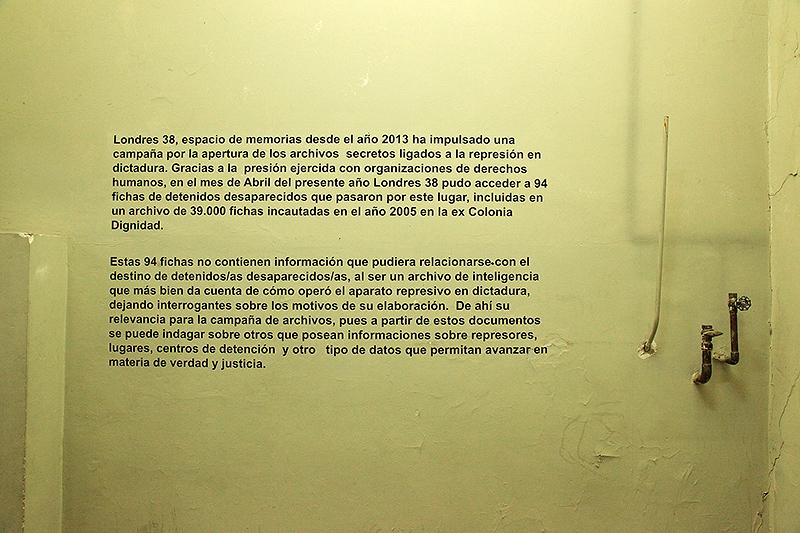 Pièce de détention, Londres 38, Santiago, Chili - 2014