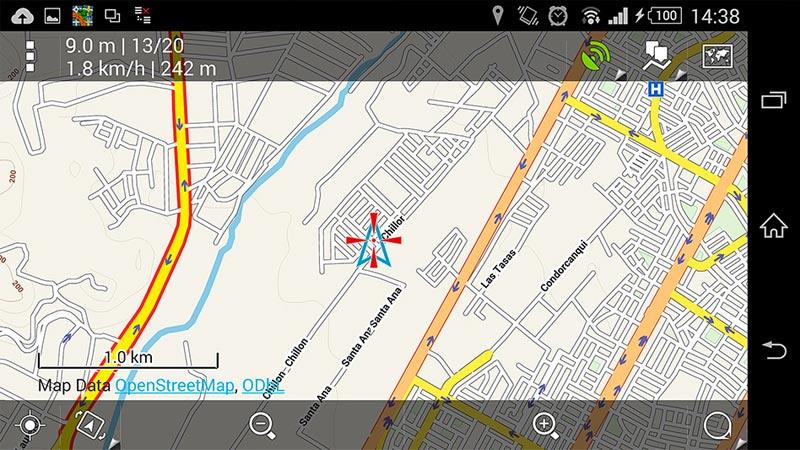 Capture d'écran Locus Pro 1km