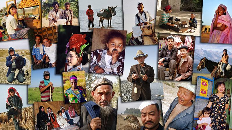 Mosaïque de portraits du monde