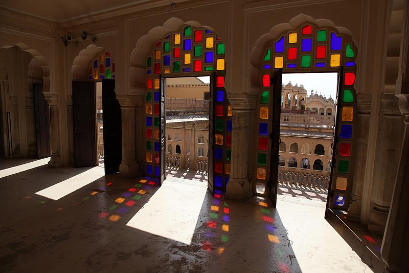 Hawa Mahal, le palais des vents, vu de l'intérieur - Jaipur, Inde 2012