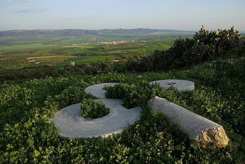 Anciennes meules sur le site antique de Dougga - Tunisie 2009