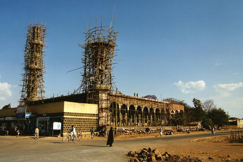 Chantier de construction de la mosquée, Bahar-Dar - Ethiopie, février 2000