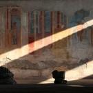 Fresque murale dans une maison de Pompéi, Italie - août 2013
