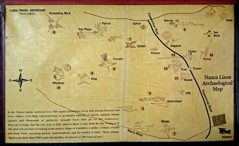 Carte des lignes de Nazca, Pérou - 2014