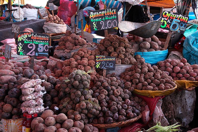 Etal de pommes de terre, mercado d'Arequipa, Pérou - 2014
