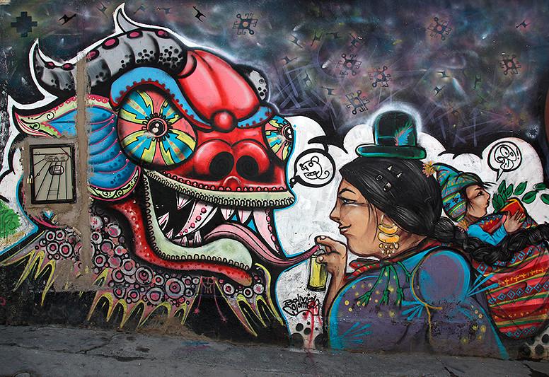 Peinture de rue, Sagarnaga, La Paz, Bolivie - 2014