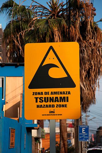 Panneau risque de tsunami, Iquique, Chili - 2014