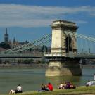 Le pont à chaînes et les berges du Danube, Budapest, Hongrie - 2009