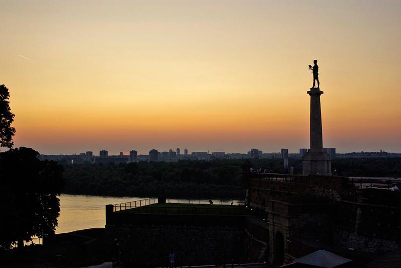 Coucher de soleil sur le Danube, Belgrade, Serbie - 2009