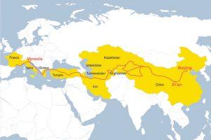 La carte du voyage sur la route de la Soie